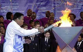 Olympic cauldron torch and Muhammad Ali