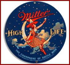 moon logos Miller Beer High Life siren Girl on the moon